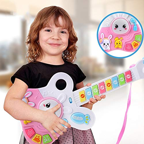 HATCHMATIC 44*18*4 cm Pink / Blue Key Tape Music Electric Guitar Kids Musical Instruments Educational Toys for Children Best Gift: Pink