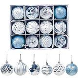Demiawaking 12pcs Palline Natalizie 6cm Palle per Albero di Natale Ornamenti Appesi Addobbi Natalizi Decorazioni per Albero di Natale (Blu)