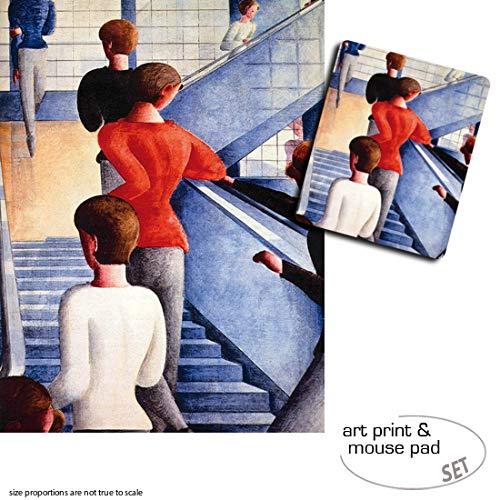 Geschenkset: 1 Poster Kunstdruck (80x60 cm) + 1 Mauspad (23x19 cm) - Oskar Schlemmer, Bauhaustreppe,...