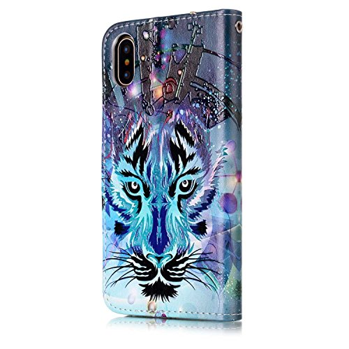 inShang Custodia per iPhone X 5.8 inch con design integrato Portafoglio, iPhoneX 5.8inch case cover con funzione di supporto. + inShang Logo pennino di alta classe wolf