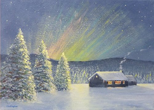 Neve di notte - 35cmx25cm, pittura nevoso, cottage, abeti, luci