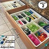 Divisores de Gavetas Ajustables de Uncluttered Designs para almacenamiento y organización de Gavetas de Utilidad en Cocina (Paquete de 2)