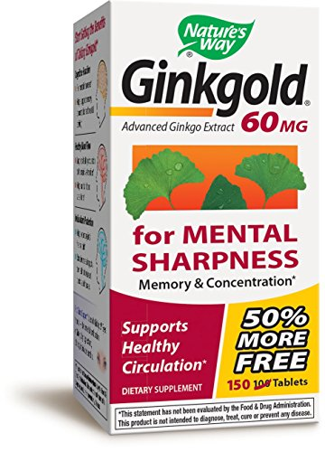 Nature's Way Ginkgold Klinischer Ginkgo-Extrakt 60 mg 150 Tabletten (Way Natures Tabletten 60)