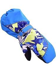 HUKOER Guantes de invierno de niños guantes de esquí niños/niñas deporte impermeable a prueba de viento y nieve Mitones muñeca extendidos (Azul, XS)
