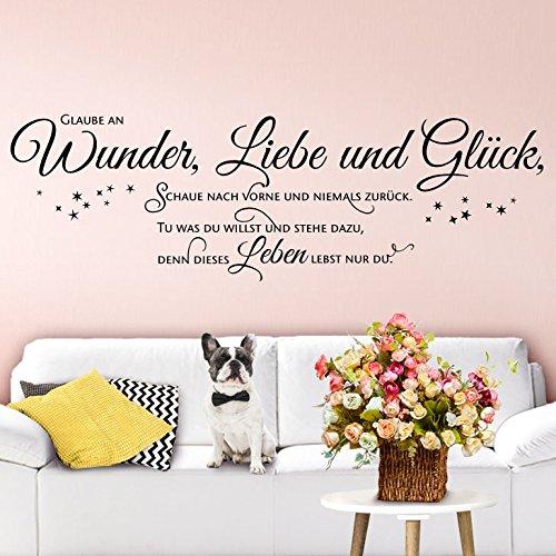 Wandaro W3403 Wandtattoo Wandsticker Spruch Zitat Glaube an Wunder Liebe und Glück Schlafzimmer Wohnzimmer Flur