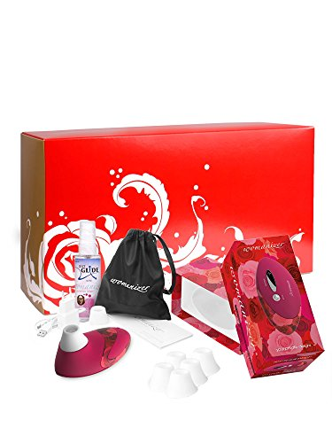 Womanizer Geschenkox: Womanizer Pro W500 Rose/rot + Gleitgel + 5 Ersatzköpfe