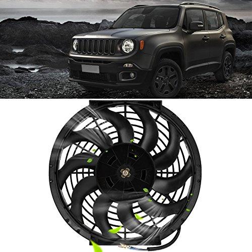 Preisvergleich Produktbild Schwarz Universal 360°12V 80W Ventilator Lüfter für Auto KFZ LKW Zigarettenanzünder Windmaschine 12 Zoll