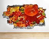 G378Gummy Bears Sweets Candy Kids zerstörten Wand Aufkleber 3D Kunst Aufkleber Vinyl Raum