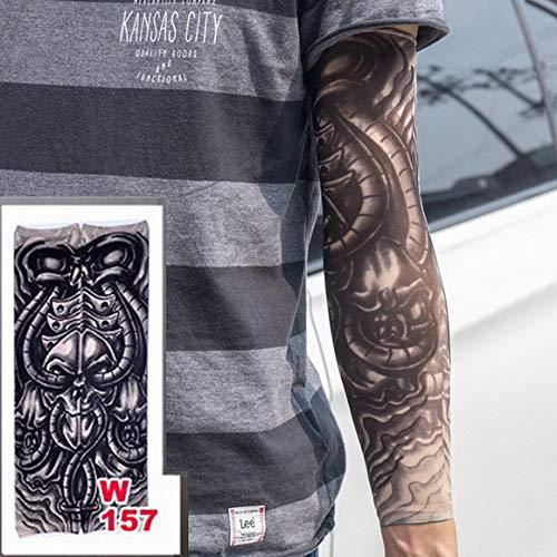 adgkitb 4 Pezzi Finti Tatuaggio temporaneo Maniche Tatuaggi Completo Lungo Slittamento sul Braccio Tatuaggio Manica Kit Uomo Elastico Nylon Guanti Tatuaggi Design Teschio Nero w157 40x8,4 cm