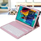 REAL-EAGLE Tastiera Custodia per Galaxy Tab S5e SM-T720/T725 (Inglese QWERTY), Custodia in Pelle con Wireless Staccabile Keyboard per Samsung Tab S5e 10.5'' 2019 (Galaxy Tab S5e 10.5 2019, Pink)
