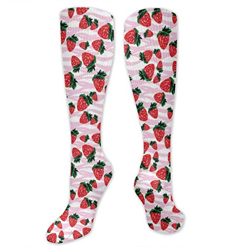 Unisex Highly Elastic Comfortable Knee High Length Tube Socks,Hand-Drawn Watercolor Pattern Strawberries In Different Sizes,Compression Socks Boost Stamina,Baby Pink Dark Coral Green -