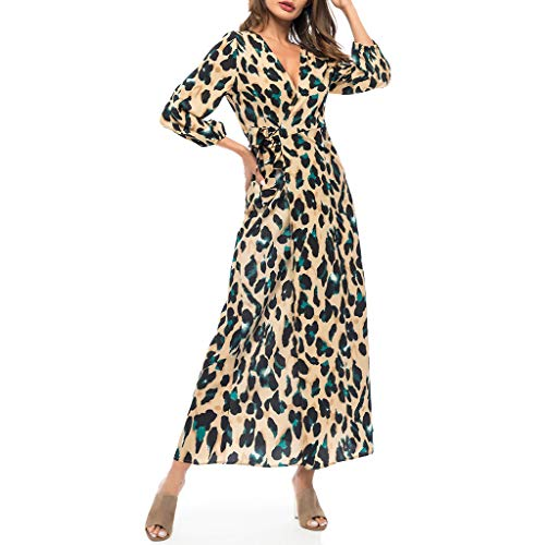Damen Chiffon Langarm Leoparden Maxikleid Sommerkleid Swing Strandkleid Bodycon Kleid Vintage Festliches Kleider Blusekleid Abendkleid Elegant Karneval Sexy Partykleid Cocktailkleid