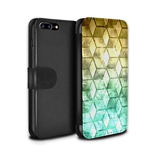 Stuff4 Coque/Etui/Housse Cuir PU Case/Cover pour Apple iPhone 8 Plus / Bleu/verd Design / Cubes colorés Collection Jaun/Vert