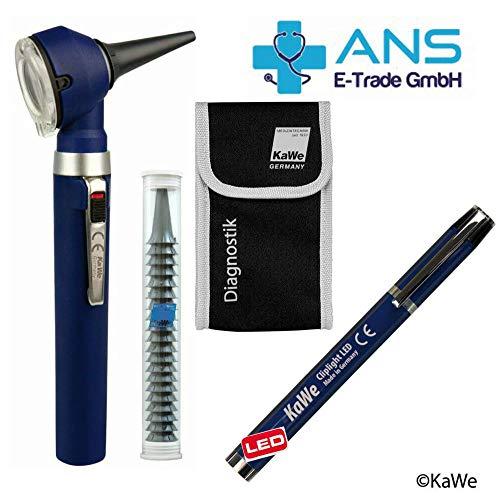 KaWe Piccolight C mit gratis Diagnostikleuchte LED, Tasche & 20 Einmaltrichtern - Farbe Sky