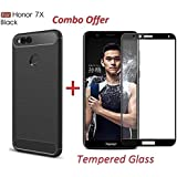 Goelectro Honor 7x (COMBO OFFER) Original Rugged Armor Shock Proof TPU Case For Honor 7x Back Cover Case ( Black ) + Premium 2.5D Curved Edge To Edge Full Screen Tempered Glass Mobile Screen Protector - ( Black )