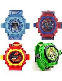 Brother Enterprises Doraemon,Ben 10,Angey Bird,Spiderman 24 Images Projecter Watch (Set Of 4)
