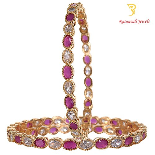 Ratnavali jewels Beautiful CZ/AD Studded Gold Plated Traditional Red Ruby White American Diamond Bangles Set for Women RV2060
