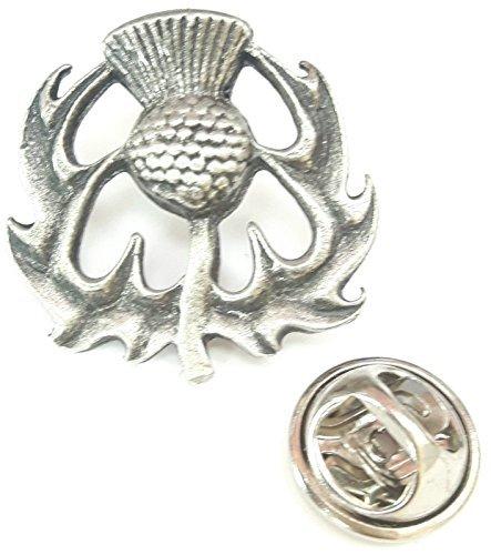 NEU Schottische Distel Handgefertigt Aus Englische Zinn Revers Anstecknadel + 59mm Knopf-abzeichen + Geschenktüte (Emblem-knöpfe)