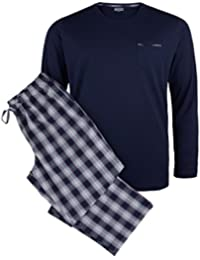 Jockey XXL Pijama largo de cuadros azul oscuro-rojo