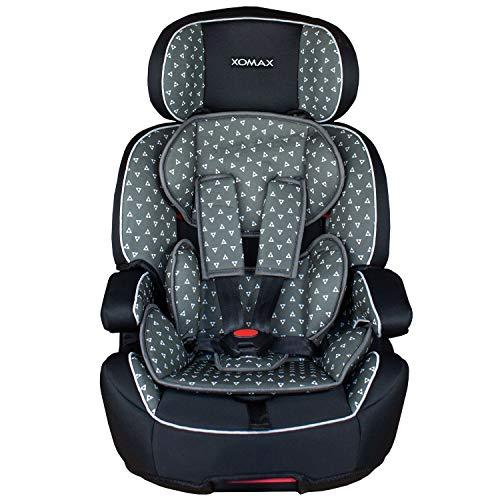 XOMAX XL-518-Grau Kindersitz mit ISOFIX I mitwachsend I 9-36 kg, 1-12 Jahre, Gruppe 1/2/3 I 5-Punkt-Gurt und 3-Punkt-Gurt I Bezug abnehmbar und waschbar I ECE R44/04 I grau/schwarz