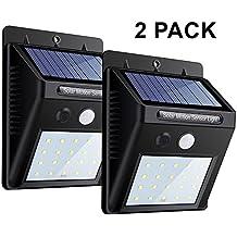 20 LEDS luz de pared con sensor de movimiento, luces de seguridad noche brillante, impermeable Wireless Solar Powered proyector para exterior, Patio, Jardin, entrada de auto, Árbol, Patio, escaleras, zona de la piscina