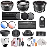 Neewer® 52MM Kit de accesorios Profesional para NIKON DSLR (D5300 D5200 D5100 D5000 D3300 D3200 D3000 D90 D80)- Incluye: 0.35x Súper Ojo de Pez + 0.45X Gran Angular y 2x Lentes Telefoto + mando a distancia + Kit de filtro (UV, CPL, ND8) + Macro Close-Up Set + Tulip Parasol + plegable Parasol + tapa de lente + 2 filtros de color + Suave difusor de flash y Kit de 3 Pcs Pop-Up difusor de flash + Kit de Limpieza lujosa con microfibras
