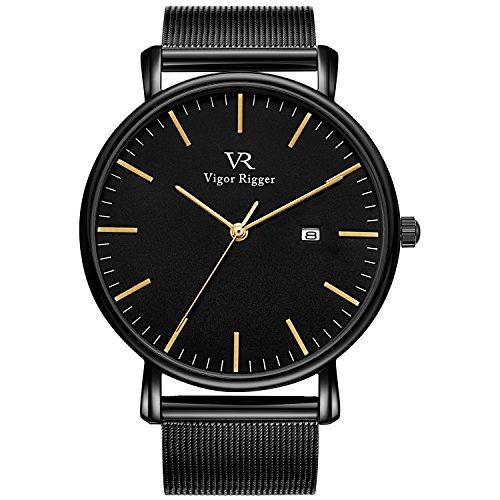 Vigor Rigger Herren Quarzuhr ultradünne Schwarz Armbanduhr für Damen und Herren Classic Minimalistisches Design mit Datum Kalender und Milanese Mesh ()