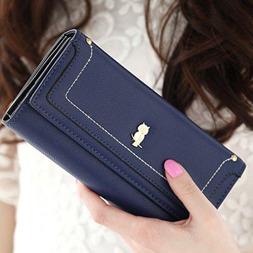 Prafa Damen Mädchen Blau Geldbörsen Geldbeutel Portemonnaie Brieftasche Kreditkartenetui Wallet Lang Mit Eule