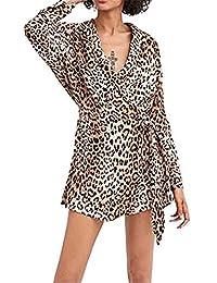 Selou Langärmeliges Kleid Leopardenmuster Damen Bedruckte asymmetrische  Strickjacke Langes Elegantes Abendkleid Banketts Sexy Minirock  Schulterfreies Kleid 606cccb7cf