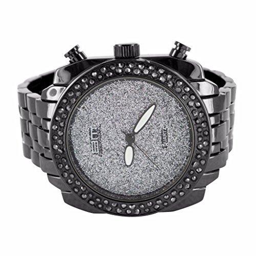 montres-pour-homme-14k-or-noir-finition-paillettes-lab-blanc-diamant-cadran-jojo-jojino-vente