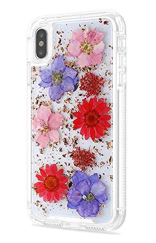 Schutzhülle für iPhone Xs Max 6,5 cm (6,5, 2 in 1, glitzernd, schlankes Design, trockenes Blumendesign, Schutz vor Stürzen, stoßfest, robust, rutschfest, durchsichtig, für Mädchen und Frauen 2018, rot (Dollar Mädchen Artikel)
