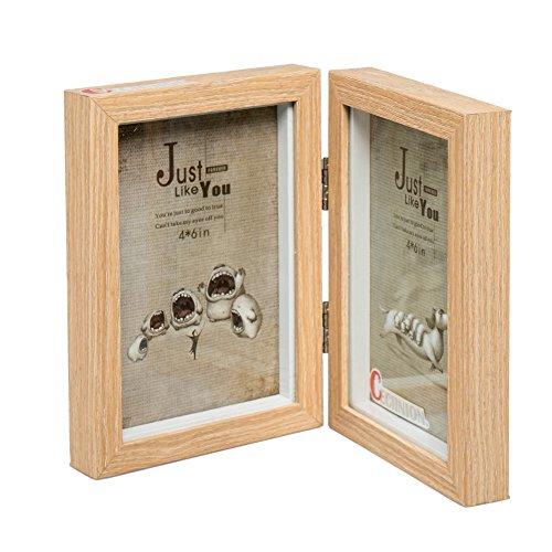 Preisvergleich Produktbild cecinion Holz Bilderrahmen, drehbare Bilderrahmen doppelt, Doppel-4von 15,2cm