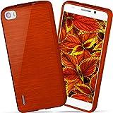 moex Huawei Honor 6 | Hülle Silikon Rot Brushed Back-Cover TPU Schutzhülle Ultra-Slim Handyhülle für Honor 6 Case Dünn Silikonhülle Rückseite Tasche