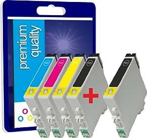 5 Premium qualité 100% Compatible cartouches d'encre 17ML pour Epson T0556 R240 R245 RX420 RX425 RX520 R 240 R 245 RX 420 RX 425 RX 520 TO551 TO552 TO553 TO554 TO556 (2noir+1cyan+1magenta+1jaune)