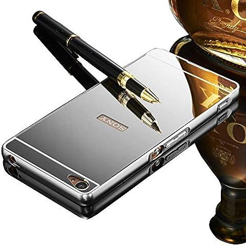 Sony Xperia M5 Case, Vandot Duro Híbrido Carcasa para Sony Xperia M5 PREMIUM Bumper Case del Metal Aluminio + PC Ultrafina Espejo Efecto Trasero Funda Cover -