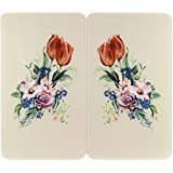 Wenko 2521456500 Universal Hob Cover Plate with Floral Design [Set of 2]