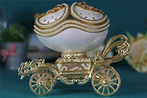 cuzit Ei Creative Music Box Carving Handwerk Musicbox Mini Eggshell Spieldosen Beste Geschenk für Hochzeit, Jahrestag, Lover, Geburtstag, Valentinstag Tages Jewelry Box auf Kutsche Music Box-bewegungen Handwerk