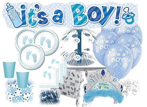 üßchen Pastell Blau Babyshower Set für 16 Personen (Klar Blau Plastik Becher)