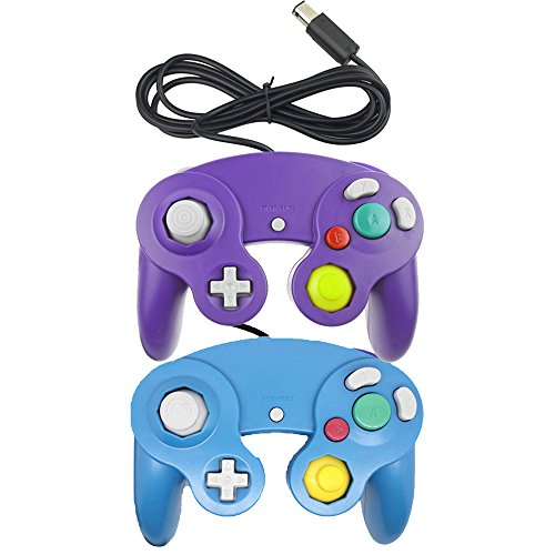 Bowink NGC Classic Wired Shock Joypad Game Stick Pad Controller für Wii Gamecube NGC Gc (Blau und Violett)