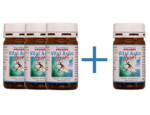 VitalAstin SPORT mit 12 mg natürlichem Astaxanthin - versandkostenfrei - 4 DOSEN (4 x 50 K.) - NEUE FORMEL = natürliches Astaxanthin plus Zink und Vitamin B1 - Das Original Ivarsson's VitalAstin - Ein Kapsel täglich Formula - höher dosiert - mehr Effekt!