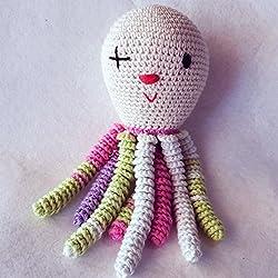 Pulpo amigurumi para recién nacido disfrazado de payaso. Pulpo de ganchillo - crochet para bebé.