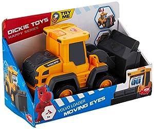 Dickie Toys 203812006 Happy Moving Eyes, excavadora Volvo, excavadora de juguete con cargador de ruedas y rodillo,  2 modelos surtidos