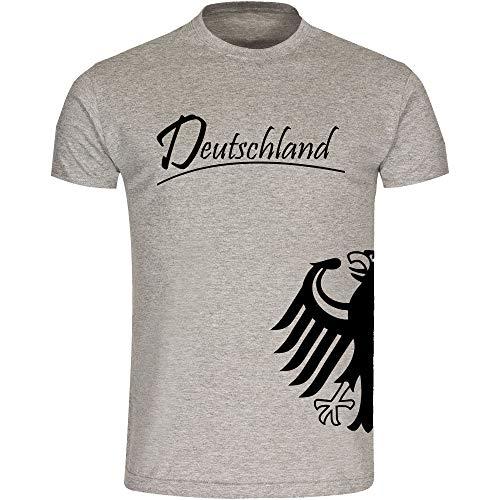 T-Shirt Deutschland Trikot Adler seitlich Herren grau Gr. S - 3XL - Fanshirt Fanartikel Fanshop Trikot Fußball EM WM Germany,Größe:L,Farbe:grau