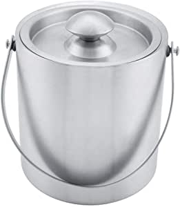 3L 2L//3L Ice Bucket Double Layer Stainless Steel Silver Double Walled Ice Bucket with Carry Handle and Lid High Capacity for Party,Restaurant,Picnic