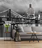 Sunny Decor - Fototapete BROOKLYN BRIDGE BLACK AND WHITE - 368 x 254 cm - Tapete, Wand Dekoration, New York - SD934