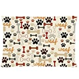 Dog Paws and Bones Pillowcase - Zippered Pillowcase, Pillow Protector, Best Pillow Cover - Standard Size 20x30 inches, One-sided Print by WECE