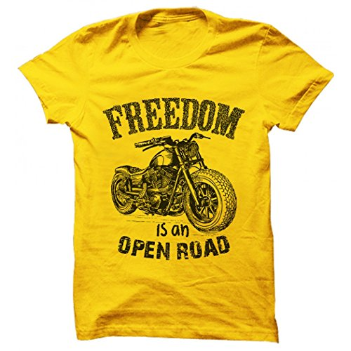 Printing Geeks Freedom Is An Open Road Rider Yellow Animated/Printed Designer Men's Cotton T Shirt  available at amazon for Rs.499