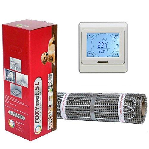 FOXYSHOP24-elektrische Fußbodenheizung PREMIUM MARKE FOXYMAT.SL (160 Watt pro m²) mit Thermostat QM-BLUE-TS,Komplett-Set 1.5 m² (0.5m x 3m) (Fußbodenheizung-kabel)