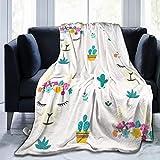 Tête de Lama de Dessin animé avec Couverture en Molleton de Flanelle en Couronne de Fleurs pour canapé   Super Doux Douillet Confortable en Microfibre   Toutes Saisons, 50x60 Pouces