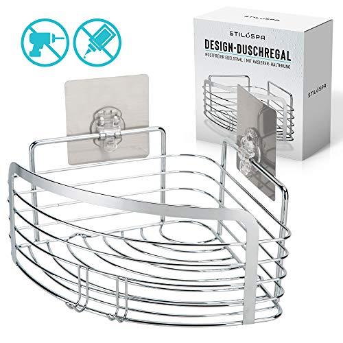 Stilospa Design-Duschablage ohne Bohren, Duschregal in Ecke mit Rasiererhalter, Edelstahl rostfrei